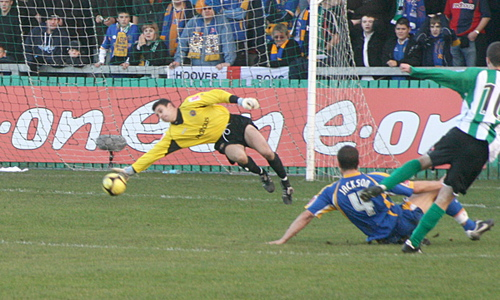 Shaun scores his second goal against Shrewsbury Town